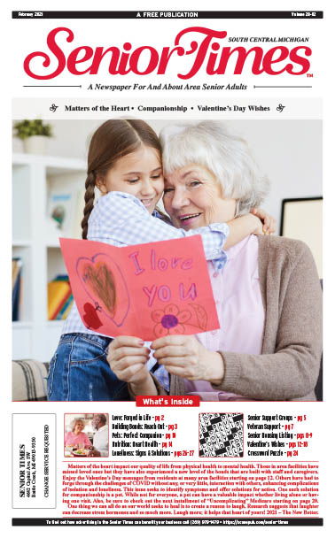 Senior Times - Matters of the Heart, Companionship, Valentine's Day Wishes Cover